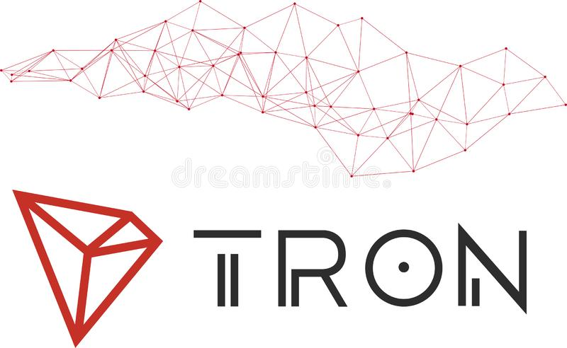 Tron TRX cryptocurrencynätverk stock illustrationer