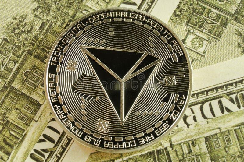 Tron ? uma maneira moderna de troca e esta moeda cripto ? meios de pagamento convenientes no mercado financeiro e da Web imagem de stock