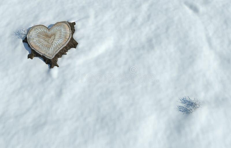 Tronc d'arbre en forme de coeur de Valentine illustration de vecteur