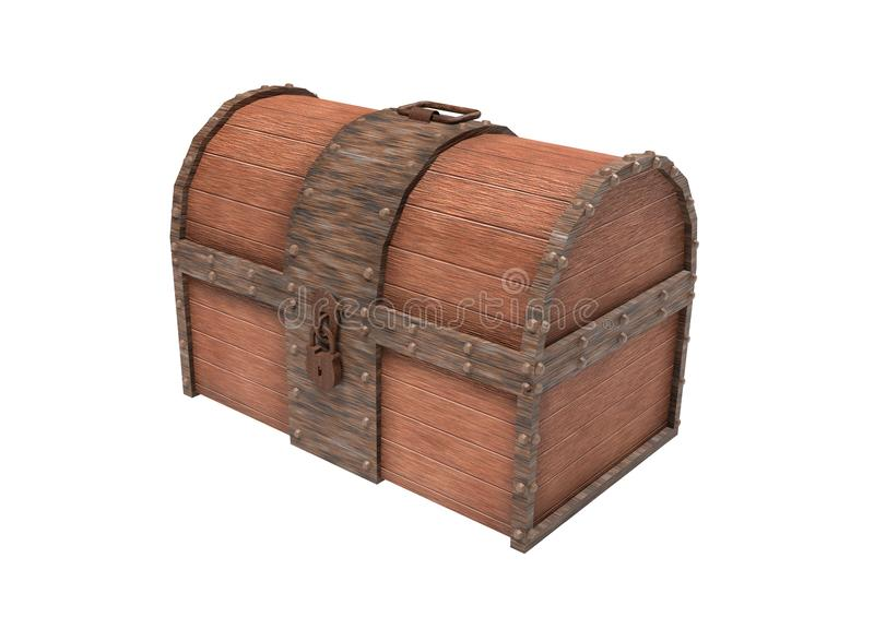 Tronc en bois de vieux cru avec les ?l?ments rouill?s en m?tal illustration du rendu 3d d'isolement images stock