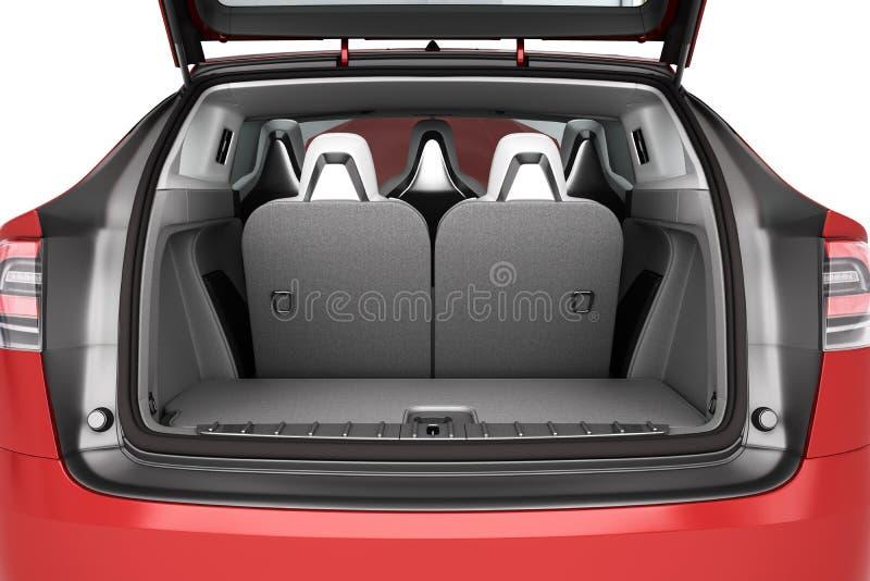 Tronc vide de monospace de voiture avec les sièges arrière pliés beaucoup d'espace 3d illustration de vecteur