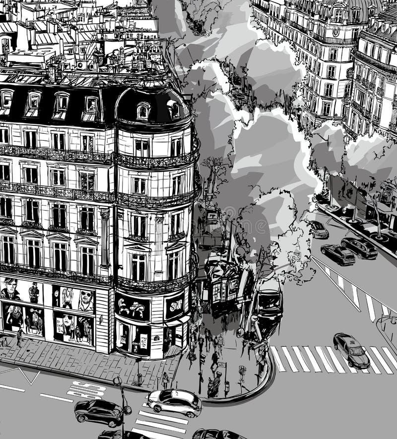 Tronchet街道看法往La马德琳的在巴黎 皇族释放例证