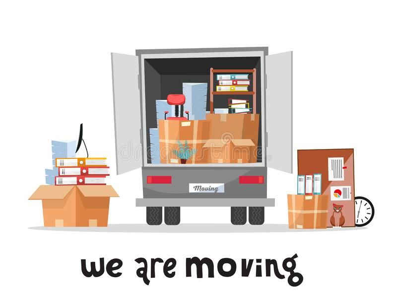 Tronco aberto das coisas do escritório do af da pilha do woth do caminhão em umas caixas de cartão Mover-se incorporado Camionete ilustração royalty free