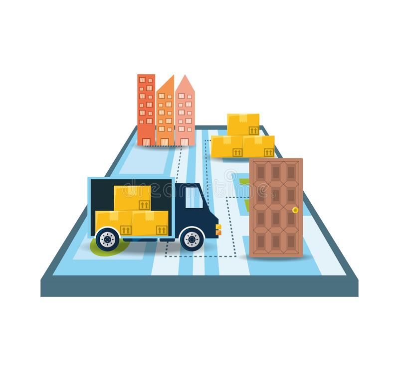 Tronco con el paquete de las cajas en la búsqueda del mapa libre illustration