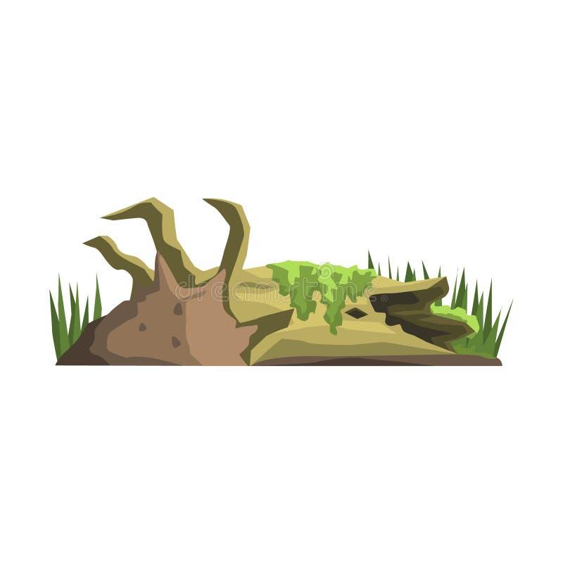 Tronco de árbol de decaimiento en el elemento del paisaje de la selva del pantano libre illustration
