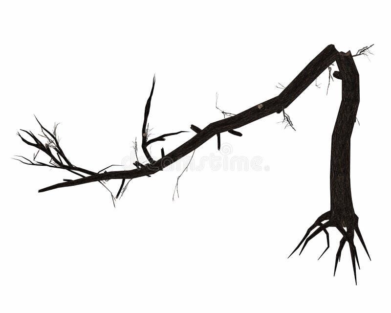 Tronco de árvore quebrado inoperante - 3D rendem ilustração royalty free