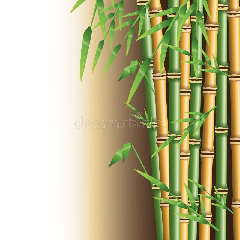 Tronco de bambú con diseño de las hojas libre illustration
