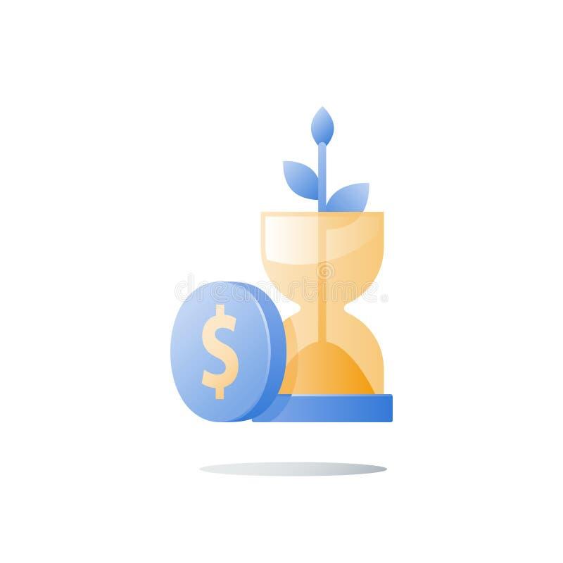 Tronco del reloj de arena y de la planta, crecimiento de la riqueza, el tiempo es oro, seguridad financiera, confianza futura, fo stock de ilustración