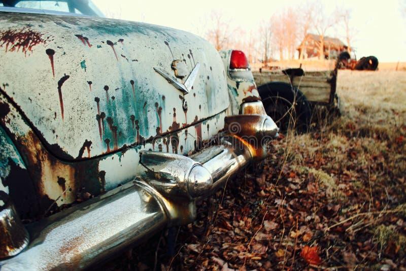 Tronco di automobile verde antico arrugginito fotografia stock