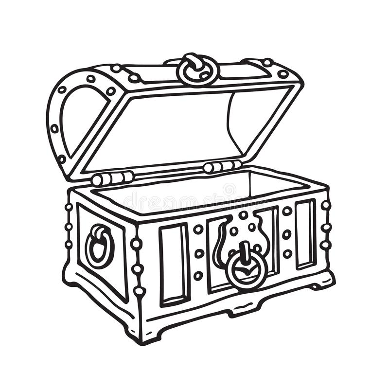 Tronco di legno aperto del forziere vuoto del pirata Illustrazione isolata disegnata a mano di vettore di stile di schizzo royalty illustrazione gratis