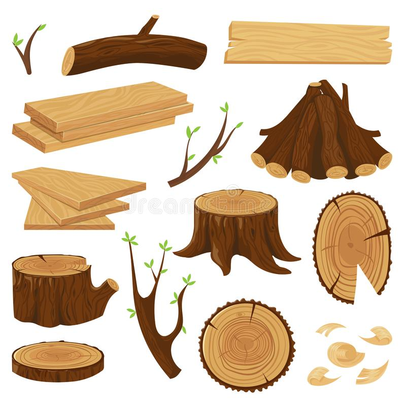 Tronco di legno del legname Legna da ardere impilata, registrando i tronchi di albero e mucchio dell'insieme di vettore isolato c illustrazione vettoriale