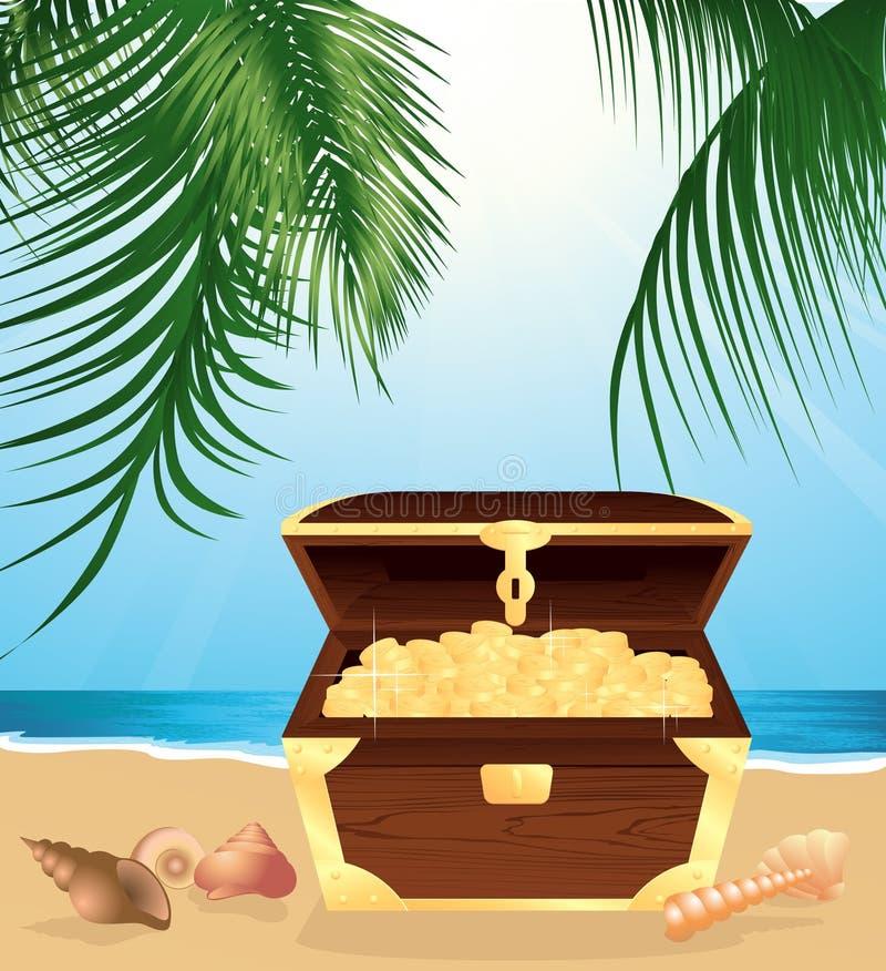 Tronco do dinheiro na praia ilustração do vetor