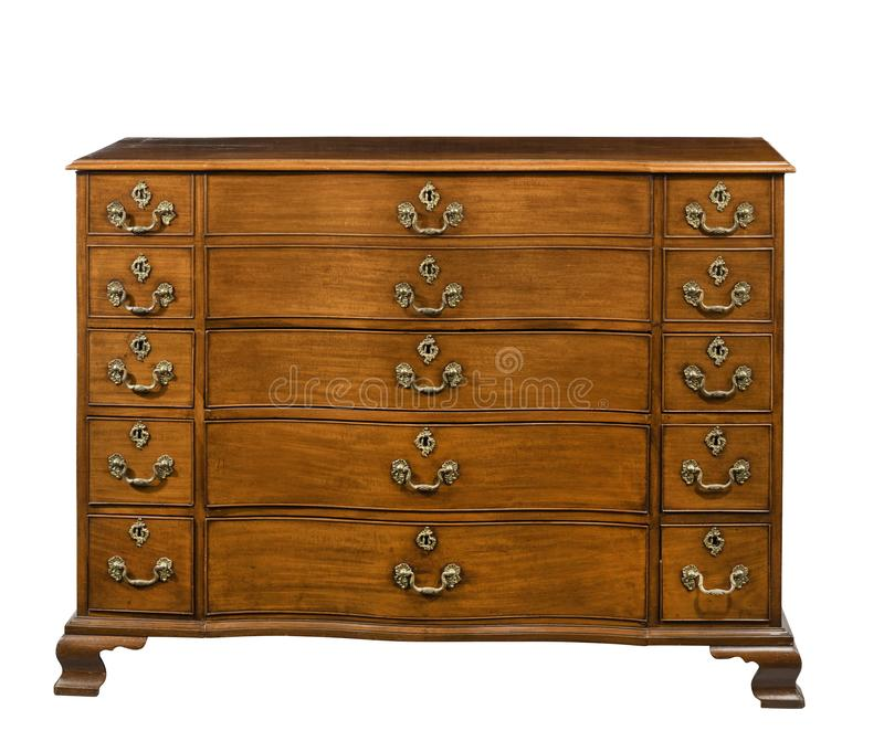 Tronco do vintage original velho ou caixa do arm?rio de gavetas de madeira foto de stock royalty free
