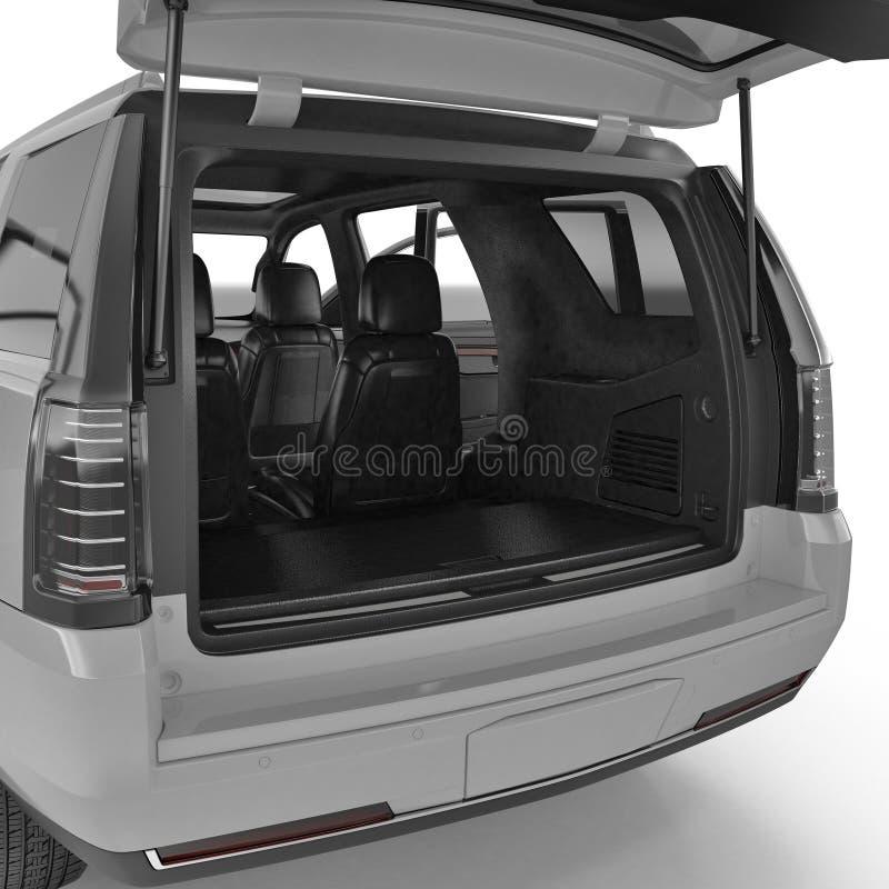 Tronco vazio limpo de SUV isolado em um branco ilustração 3D ilustração do vetor