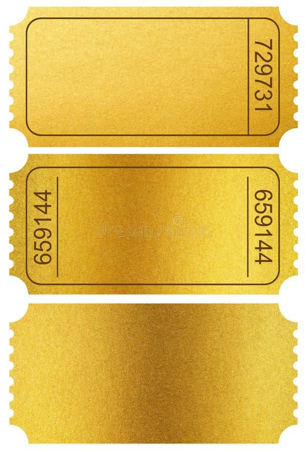 Tronconi di biglietti dell'oro isolati su bianco con il percorso di ritaglio immagini stock libere da diritti