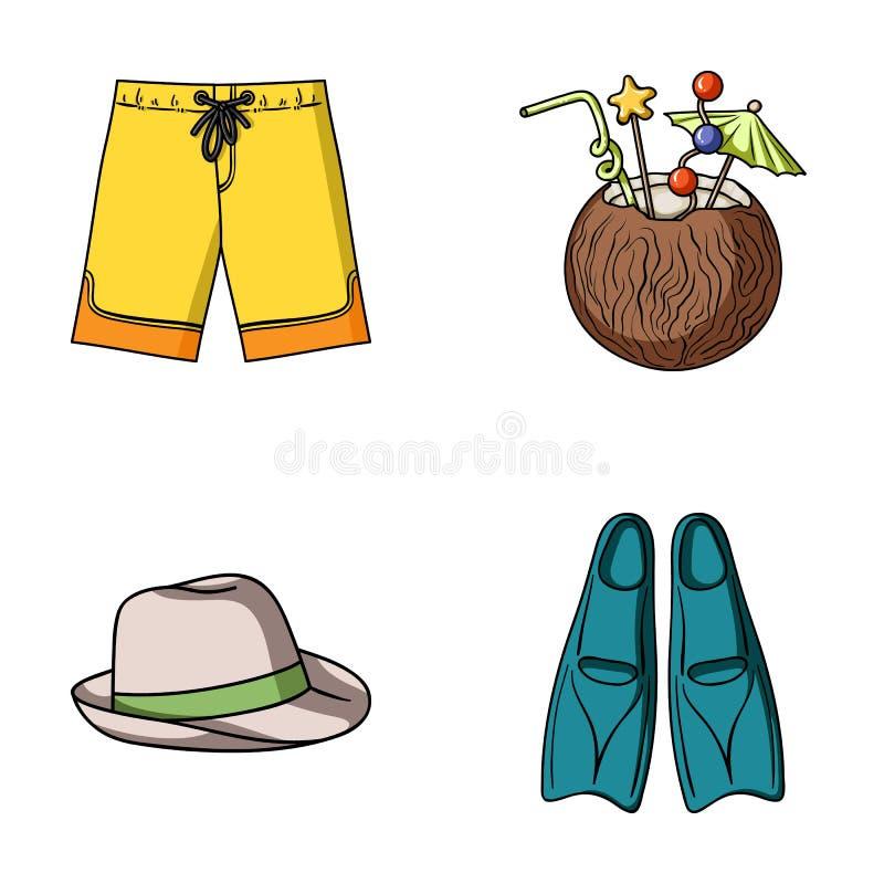 Troncos de natação, cocktail com coco, Panamá e aletas Os ícones ajustados surfando da coleção no estilo dos desenhos animados ve ilustração do vetor