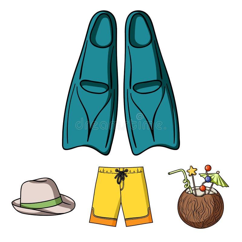 Troncos de natação, cocktail com coco, Panamá e aletas Os ícones ajustados surfando da coleção no estilo dos desenhos animados ve ilustração stock