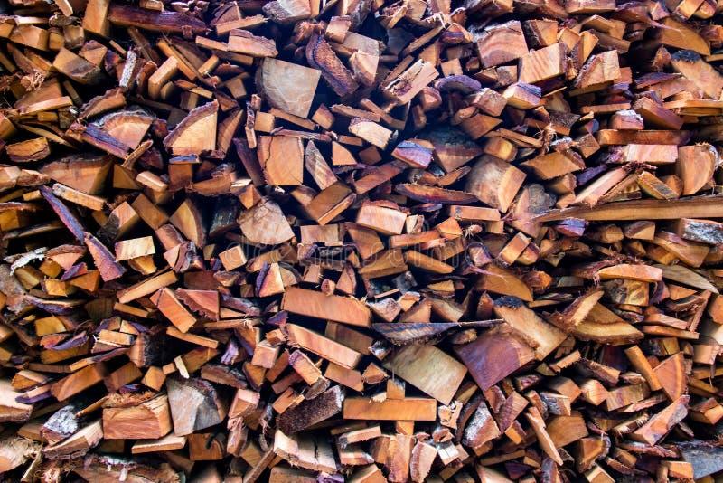 Troncs coupés de rondins en bois de bois de chauffage les grands ont empilé la pile sèche pour l'usage photo libre de droits