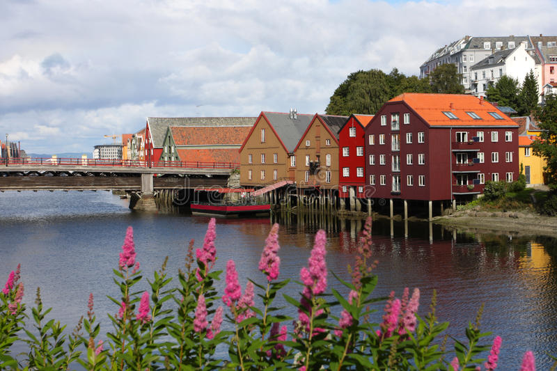 Trondheim buildings. Famous storehouses on river side of Nidelva, Trondheim royalty free stock photos
