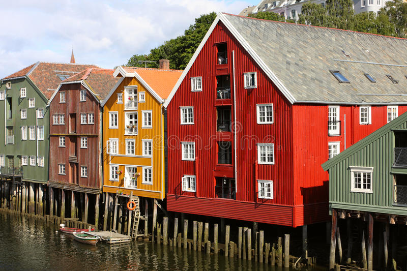 Trondheim buildings. Famous storehouses on river side of Nidelva, Trondheim royalty free stock photography