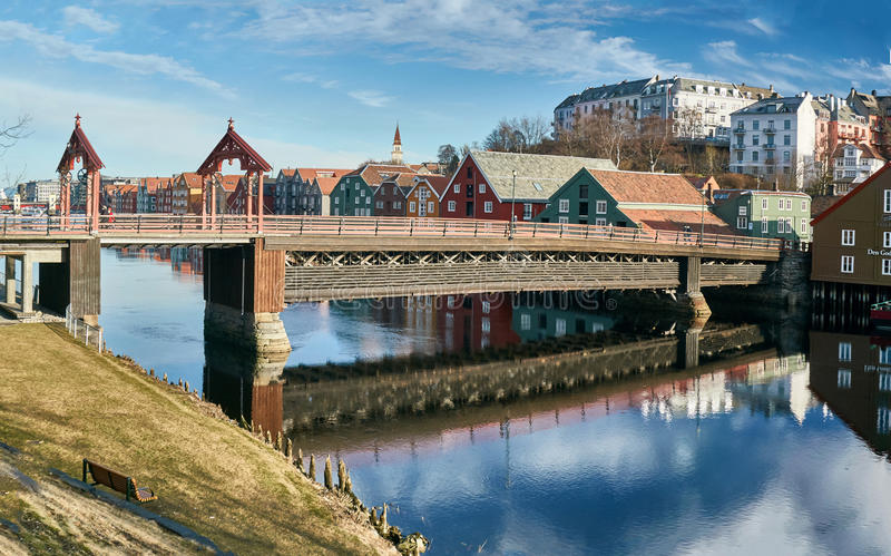 Trondheim buildings and river stock image