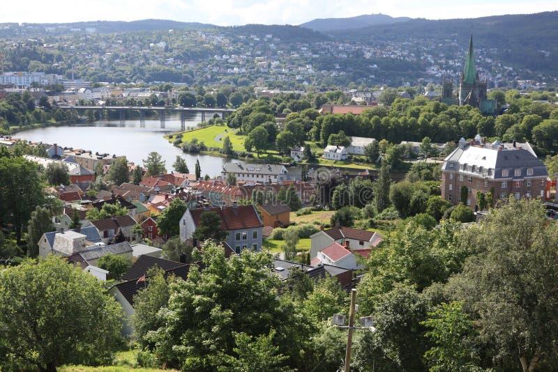 Trondheim city, Norway. The Trondheim small city, Norway royalty free stock photos