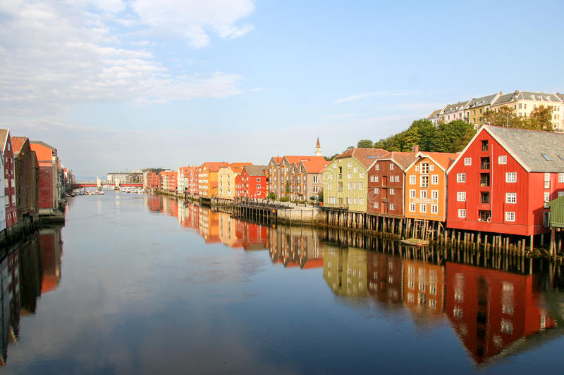 Trondheim. Colourful houses reflecting in the water Norway stock image