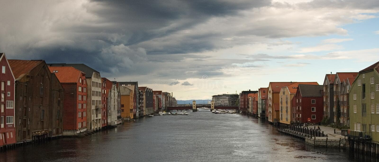 Trondheim-Nidelva. Trondheim the historical city is situated on Nidelva river in Norway stock photos