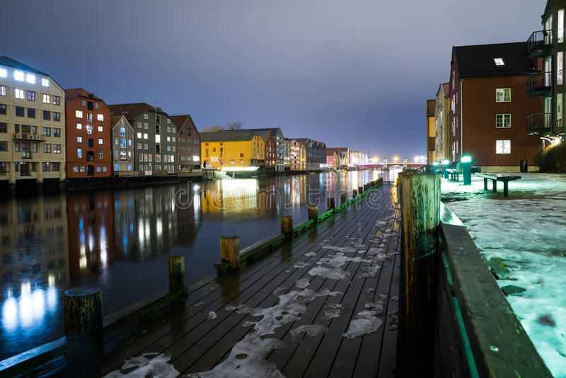 Trondheim at night, Norway March 2017 royalty free stock image