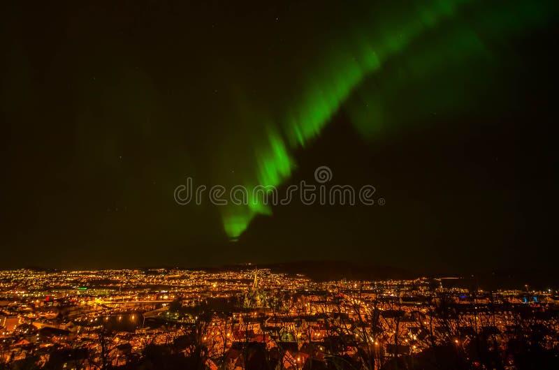 Trondheim Northern Lights. Aurora borealis over the city Trondheim royalty free stock photography