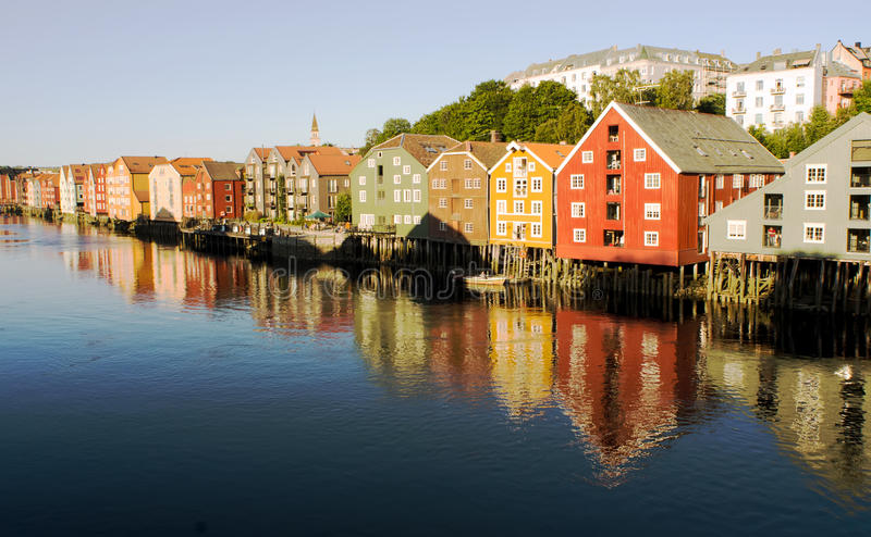 Trondheim Norway. Famous house wall in Trondheim Norway royalty free stock image