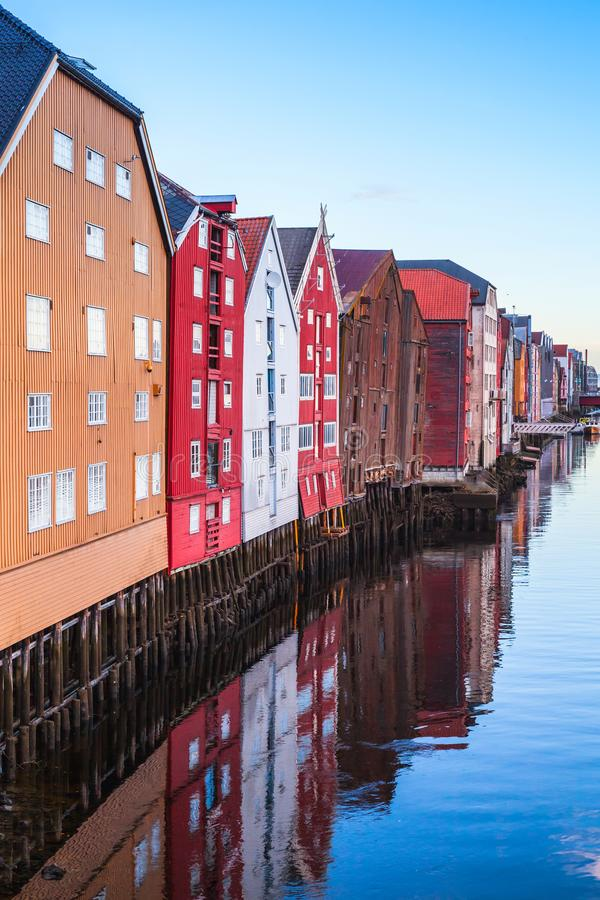 Trondheim, Norway. Vertical photo. Colorful wooden houses in old town of Trondheim, Norway. Vertical photo stock photos