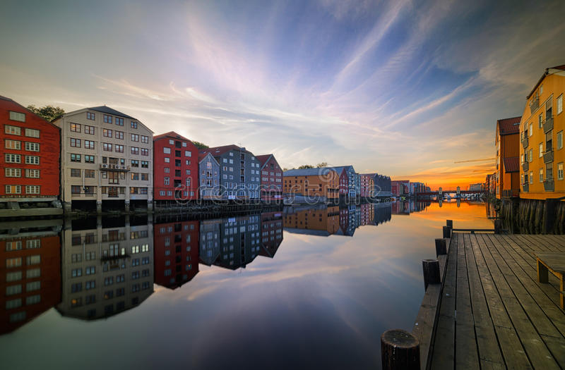 Trondheim. Old storehouses in Trondheim, Norway. Trondheim was founded in 997 as a trading post, and was the capital of Norway during the Viking Age until 1217 royalty free stock photos