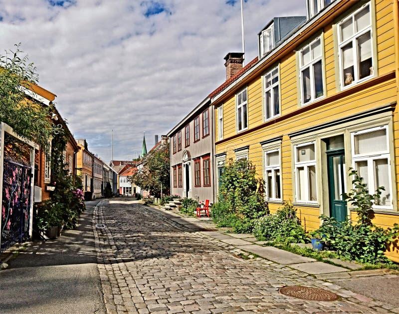 Trondheim ` s drewniani domy za czasów wspominkami zdjęcia royalty free