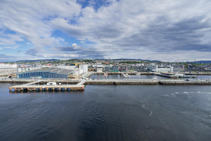 Trondheim. Seaside view of Trondheim, Norway, with the Cruise Pier 68 royalty free stock images