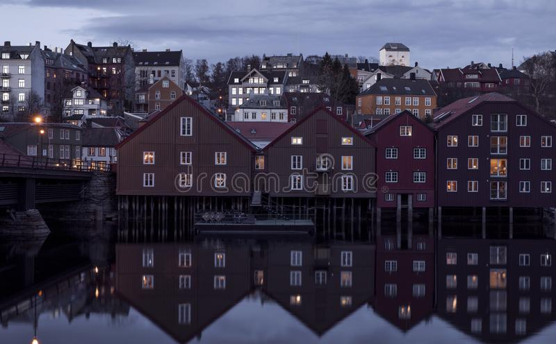 Trondheim town by night, Norway stock photo