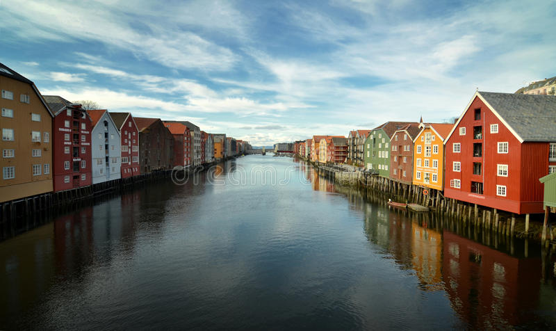 Trondheim. View over the river Nidelven in Trondheim, Norway stock images