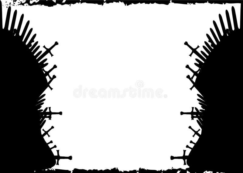 Tronenmalplaatje Hand getrokken die ijzertroon van Westeros van antieke zwaarden of metaalbladen wordt gemaakt Plechtige die stoe stock illustratie