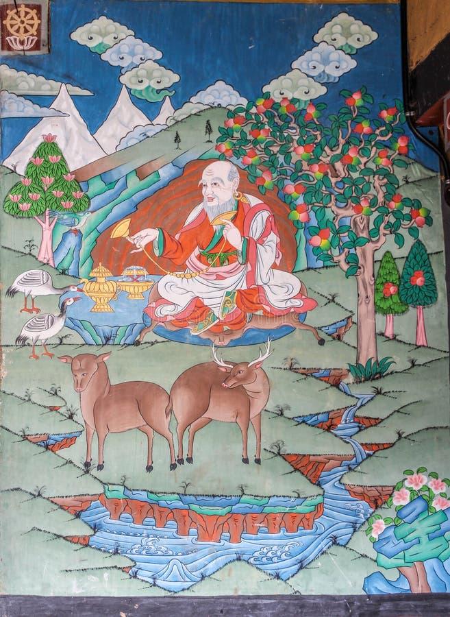 Trongsa, Bhután - 13 de septiembre de 2016: Mural antiguo en el Trongsa Dzong, Trongsa, Bhután fotos de archivo libres de regalías