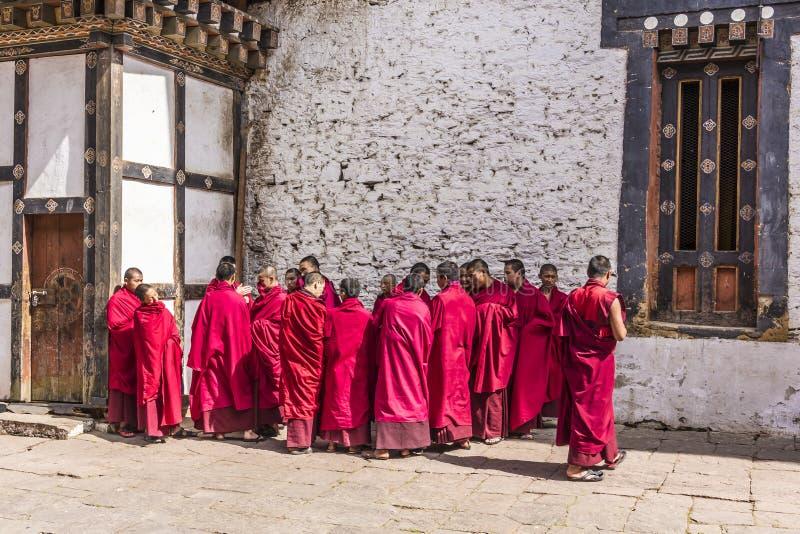 trongsa dzong的修士  库存照片