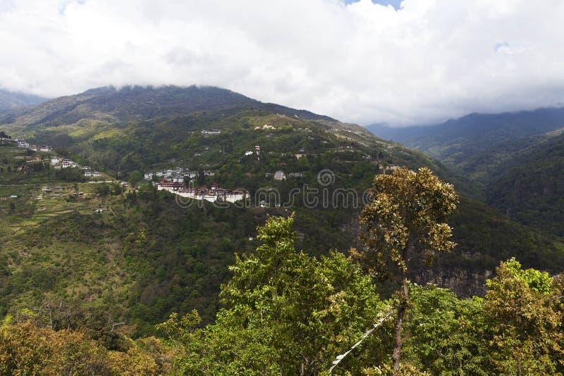 Trongsa Dzong monastery in Trongsa, Central Bhutan stock photo