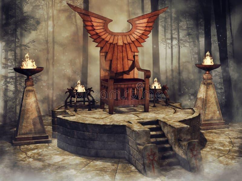 Trono alato di legno in una foresta royalty illustrazione gratis