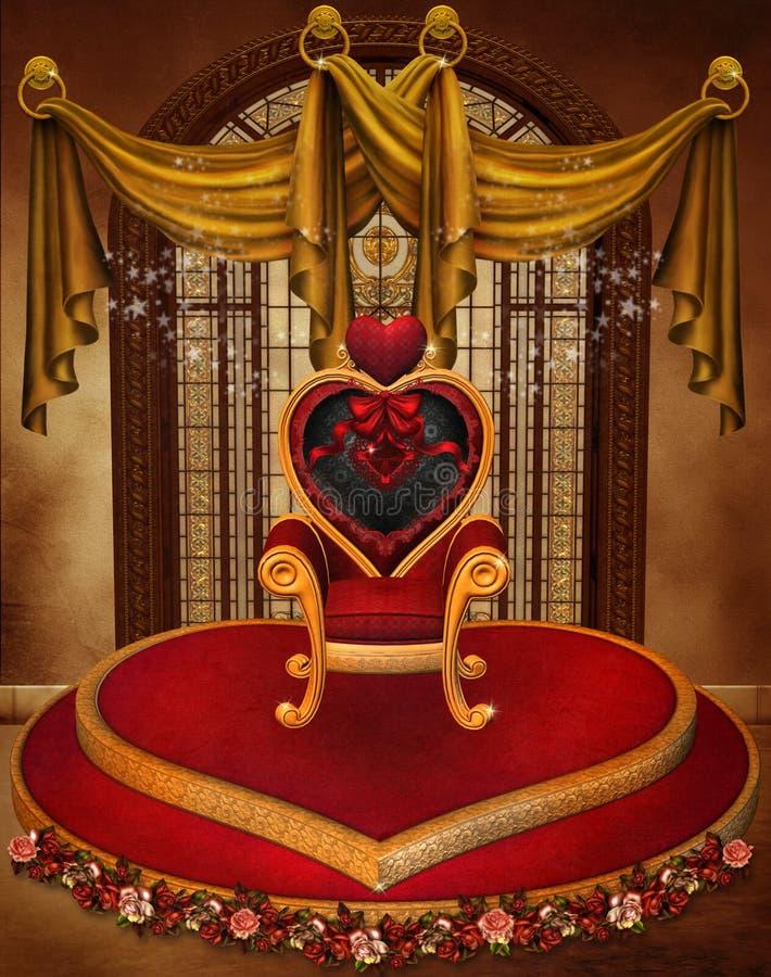 Trono del corazón de la tarjeta del día de San Valentín libre illustration