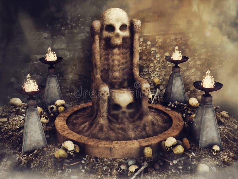 Trono del cranio circondato dai bruciatori illustrazione vettoriale