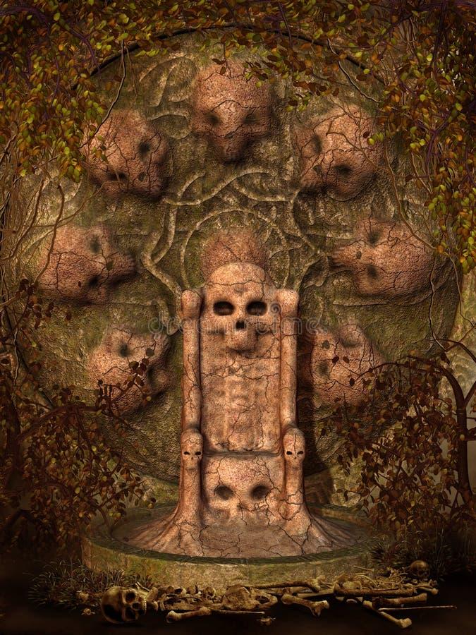 Trono do crânio com videiras ilustração royalty free