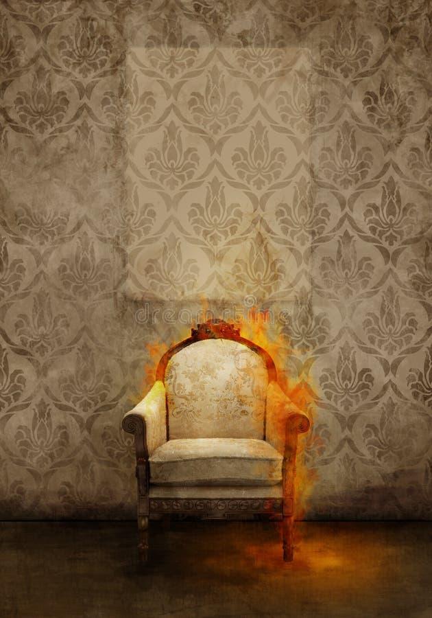 Trono in fiamme royalty illustrazione gratis