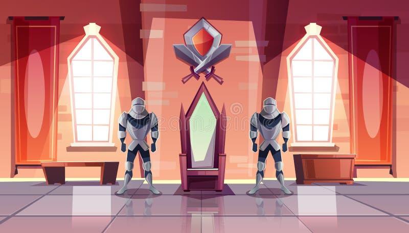 Trono real no vetor dos desenhos animados do castelo ou do museu ilustração royalty free