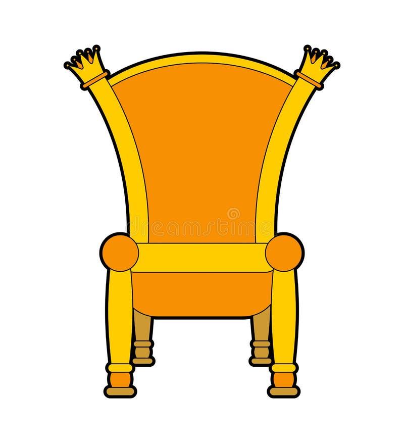 Trono reale isolato Illustrazione regale di vettore della sedia dell'oro illustrazione vettoriale
