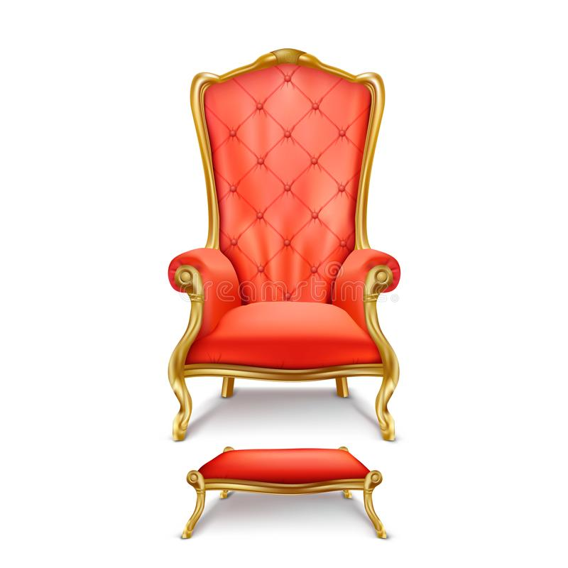 Trono vermelho luxuoso do vetor no estilo realístico ilustração stock