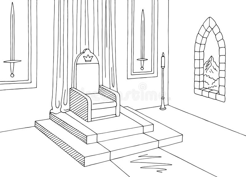 Tronowego izbowego grafika kasztelu nakreślenia ilustraci wewnętrzny czarny biały średniowieczny wektor ilustracji